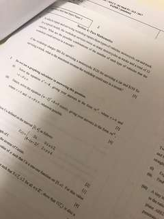 H2 Math 2017 J2 Mid year practice papers