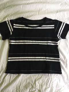 Crop Top - Black and White Stripes
