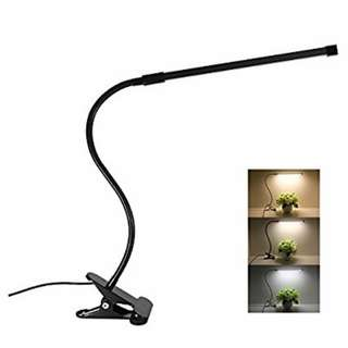 LED Desk Lamp Dimmable Eye Care Reading Light 3 Color Changing 10-Level Brightness Mental Flex Clamp Lamp Clip On Light for bedroom LED Table Light (Black)