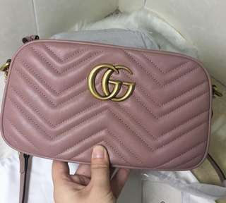 Gucci GG marmont leather crossbody bag in nude