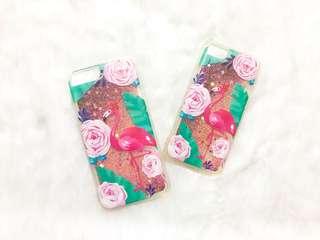 Iphone 6/s 7/8 case - Flamingo Jungle Liquid glitter