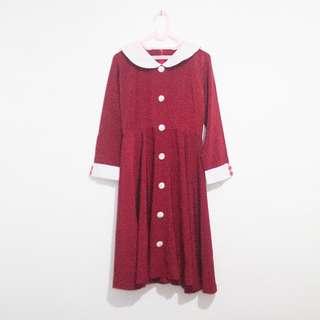 Vintage Style A-Line Midi Dress Merah Marun Kerah Peter Pan Tangan Panjang