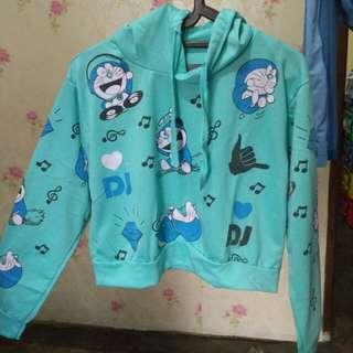 REPRICE Hoodie Crop Top Doraemon