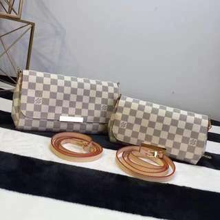 Louis Vuitton Favorite in MM and PM size azur in canvas leather