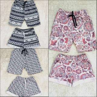 Printed Summer Couple Shorts With Side Pockets