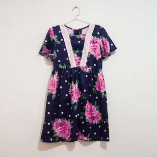 Dark Blue Floral Dress Bahan Satin Maxmara