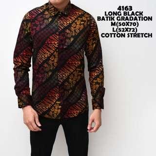 Kemeja Batik Pria Black Lengan Panjang Slimfit Katun Baju Cowok