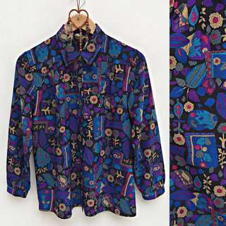 BlueViolet Floral Longsleeves Buttondown Polo