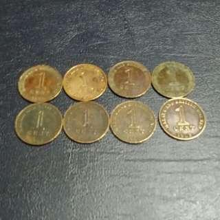 Duit Syiling Lama 1 cent Malaya & British Borneo 1962(8 pcs)