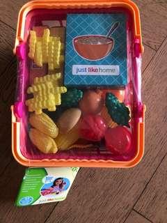 BNIP Pretend Play Food Basket with Plastic Food Toys