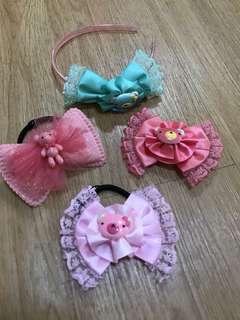 Girl Headband/ribbon/hairband/hair clip/pink bear/green bear
