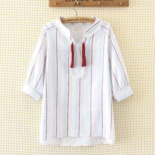 (XL~3XL) 2018 summer women's Korean version of the loose V-neck striped fringed seven-point sleeve shirt