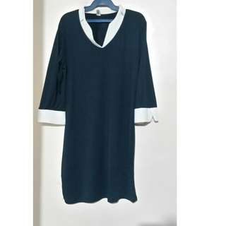 !Reprice!collared dress navy blue w/label