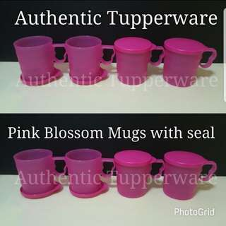 Authentic Tupperware  Pink Blossom Mugs with seal 350ml (4) 8.8cm (D) × 9.5cm (H) Retail Price S$29.20 《Now S$23.40/Set》 set