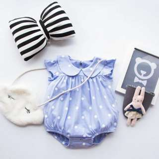 Polka Dotted Baby Girl Romper