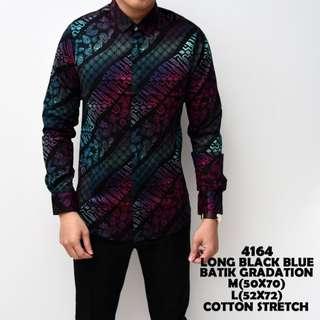 Kemeja Batik Cowok Lengan Panjang Hitam Biru Slimfit Katun Baju Pria