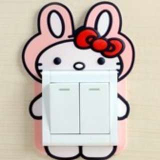 Luminous Cute Hello Kitty Switch Socket Wall Sticker