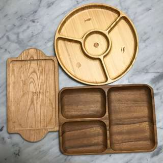 3 wooden plates