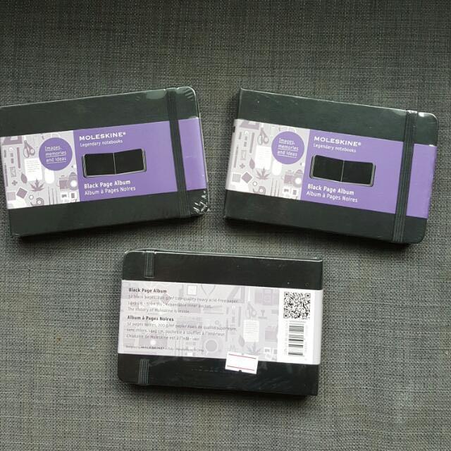 3 X Bnip Moleskine Black Page Album Books Stationery
