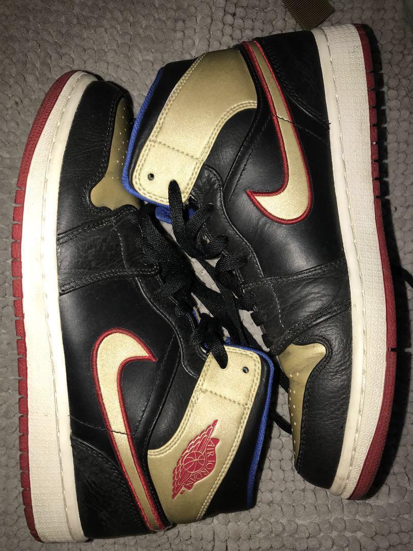 7309bee1b8f9 Air Jordan 1 Mid Black Gold Red Blue (Original)