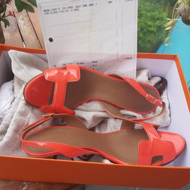 bf6f6b4e28e SOLD* Authentic Hermes Oran Oasis Night 70 Heels 36, Women's Fashion ...