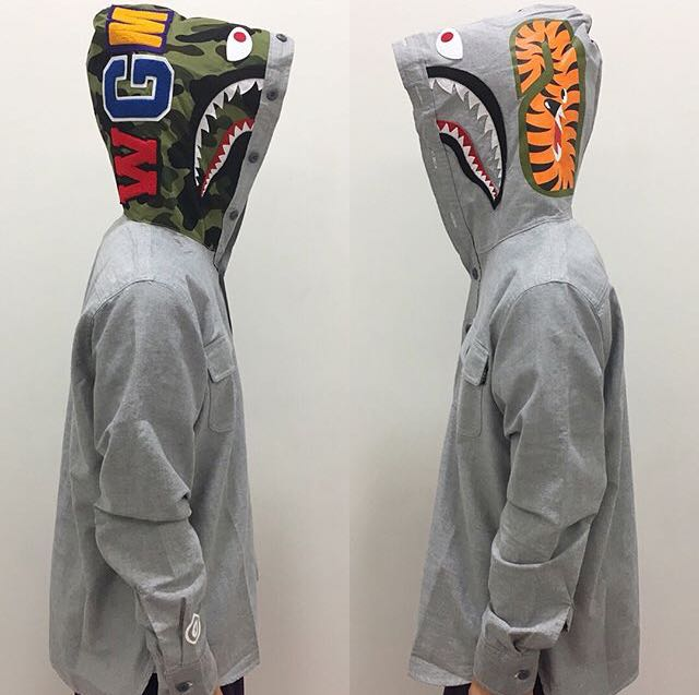 b6a9d469 BAPE SHARK OXFORD HOODIE SHIRT, Men's Fashion, Clothes on Carousell