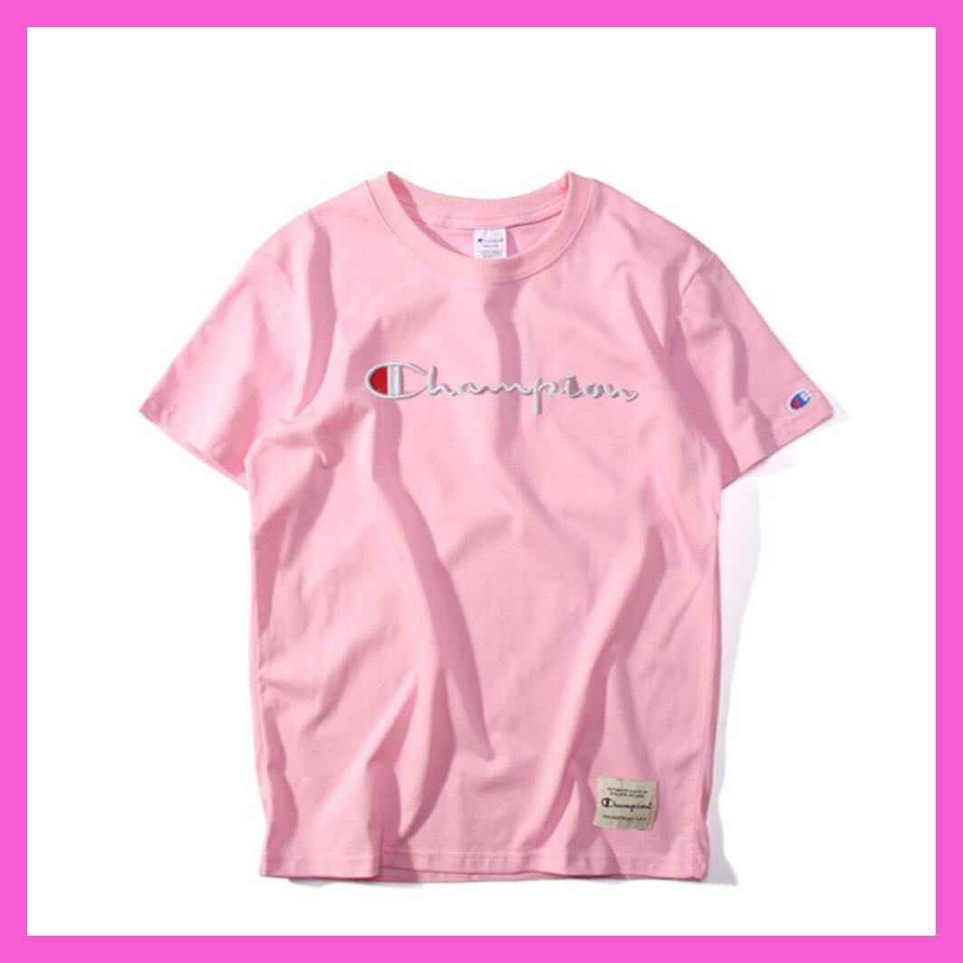 f542dd36 Champion embroidered tee shirt (pink) P.O., Women's Fashion, Clothes ...