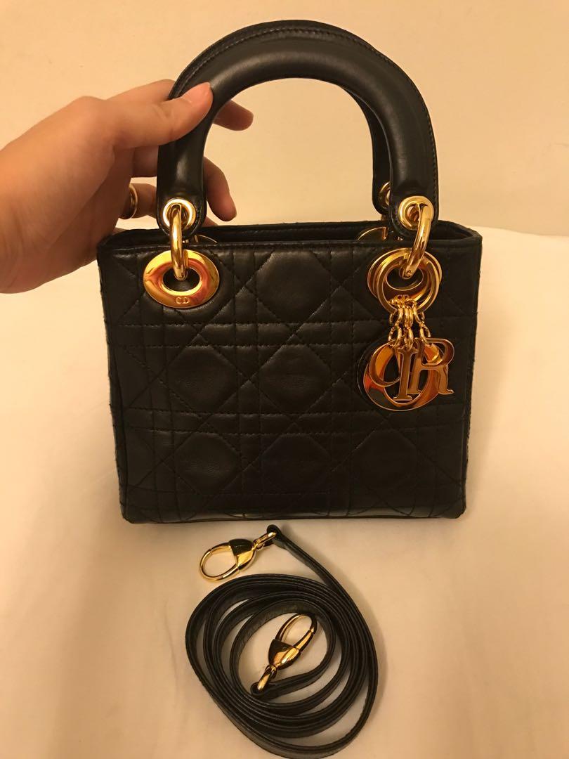 fba02236a37c Christian Dior Mini Lady Dior Bag in Black Lambskin