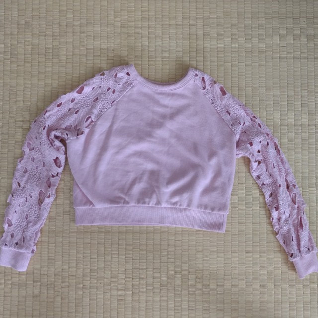 EMODA Pink Crotchet Cut-out Sleeves Cropped Sweater