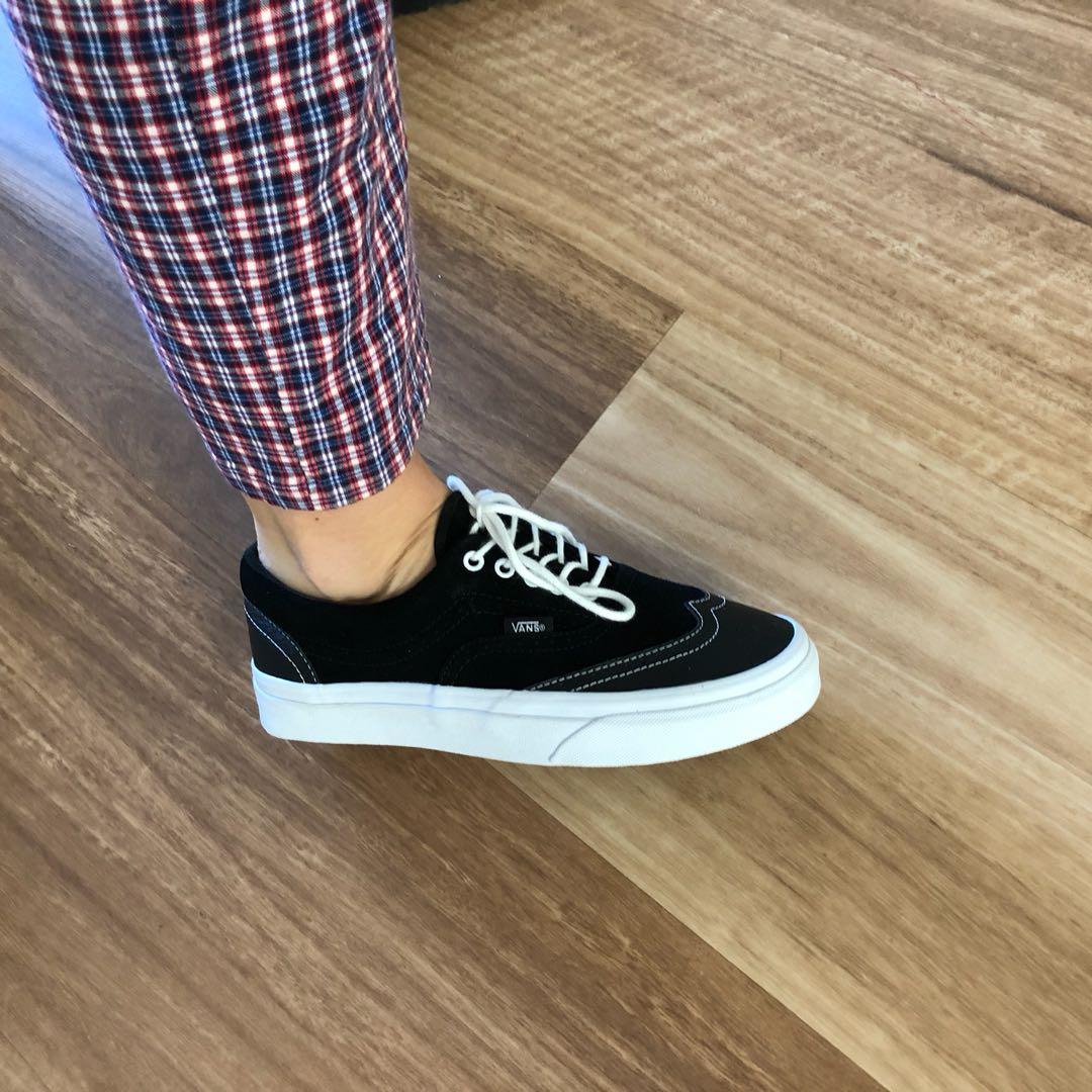 60cde44389 Era Wingtip Black Leather Suede Vans Sneakers