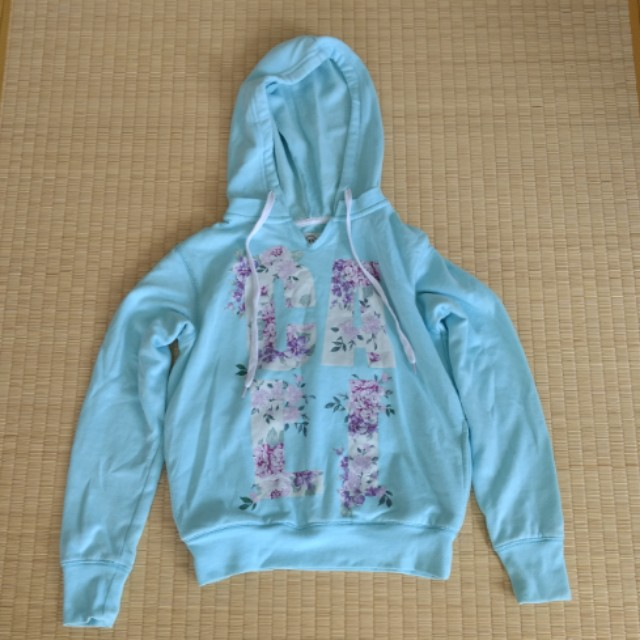 Factorie Mint Green Floral Pattern Hooded Jumper