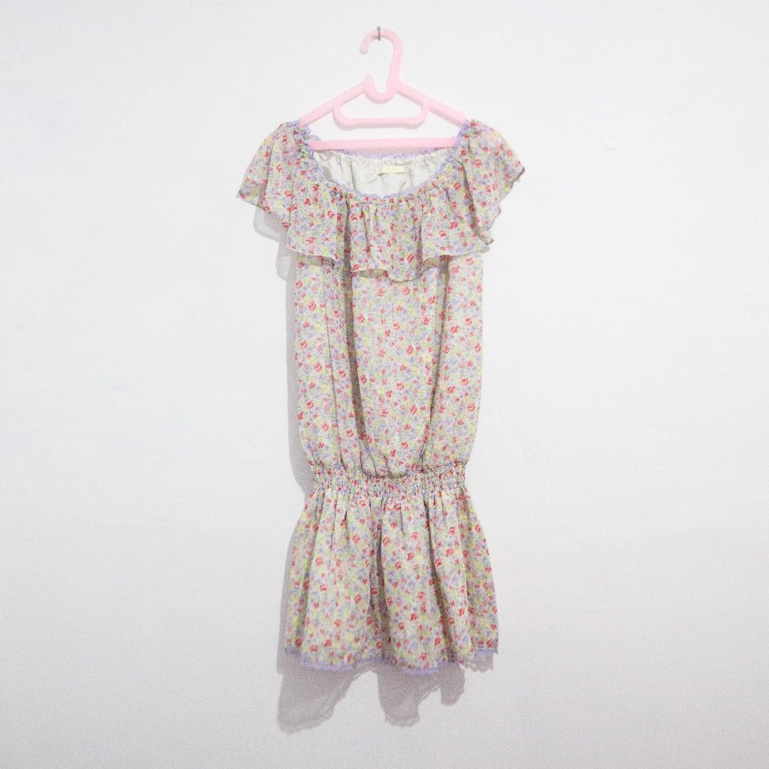 Floral Drop Elastic Waist Dress - Elastic Sabrina Neckline