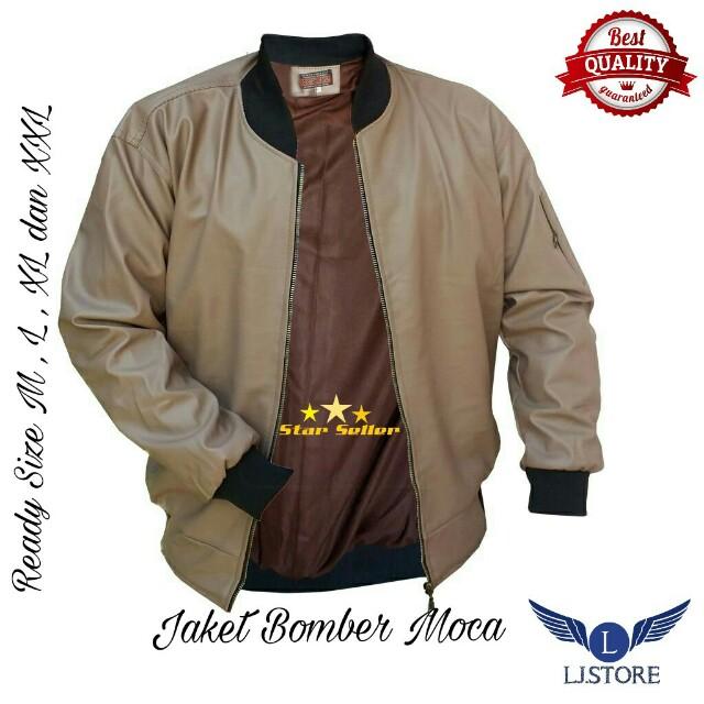 Jaket Bomber Kulit Sintetis Moca Terbaru Pria Couple Korea f8247a8d51