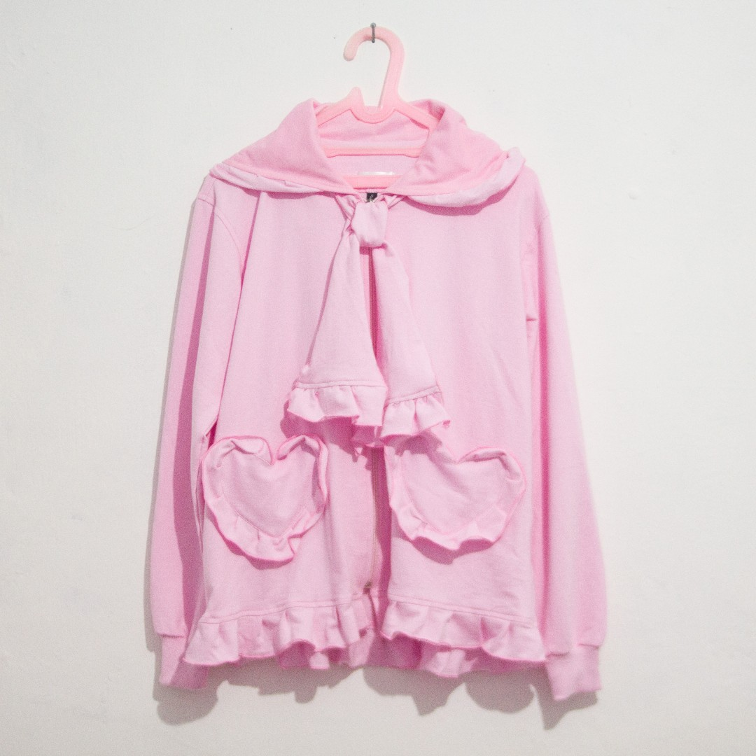 Jaket Hoodie Pink Kawaii Detail Rempel dan Pita