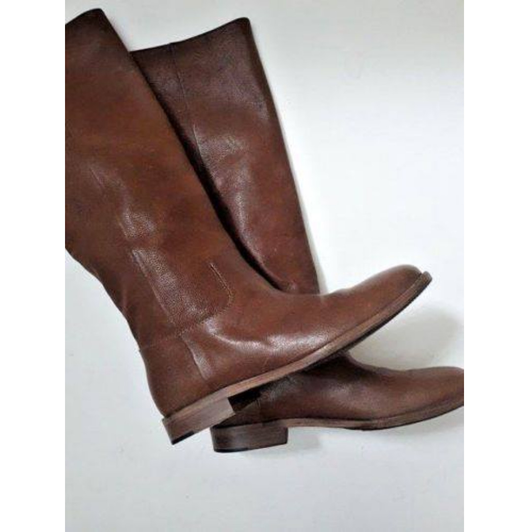Maison Margiela Brown Distressed Leather Mid Length Boot, size 36
