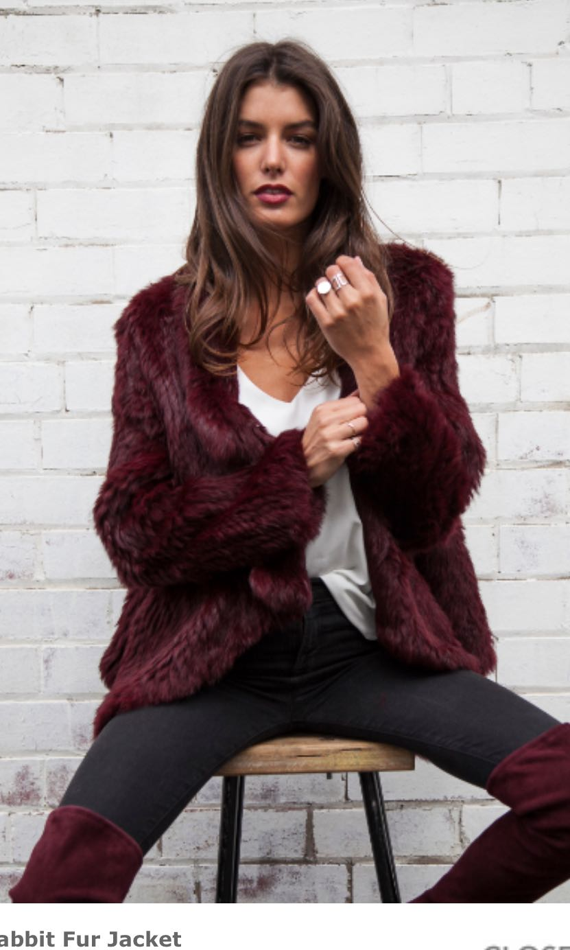 Maroon fur jacket