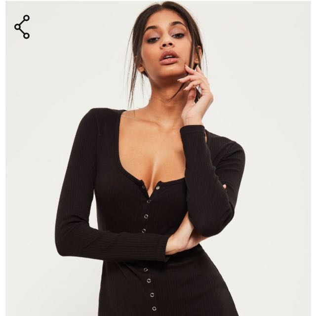 Missguided black popper dress
