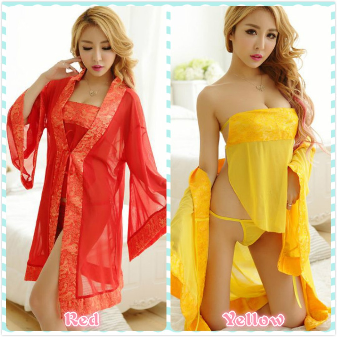 1ce32f40b0d2 Muimui Sexy Women Bathrobe Silk Chinese Style Nightdress Red ...