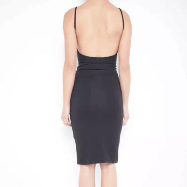 New INCYDA Vera Backless Midi Dress Black Size 6
