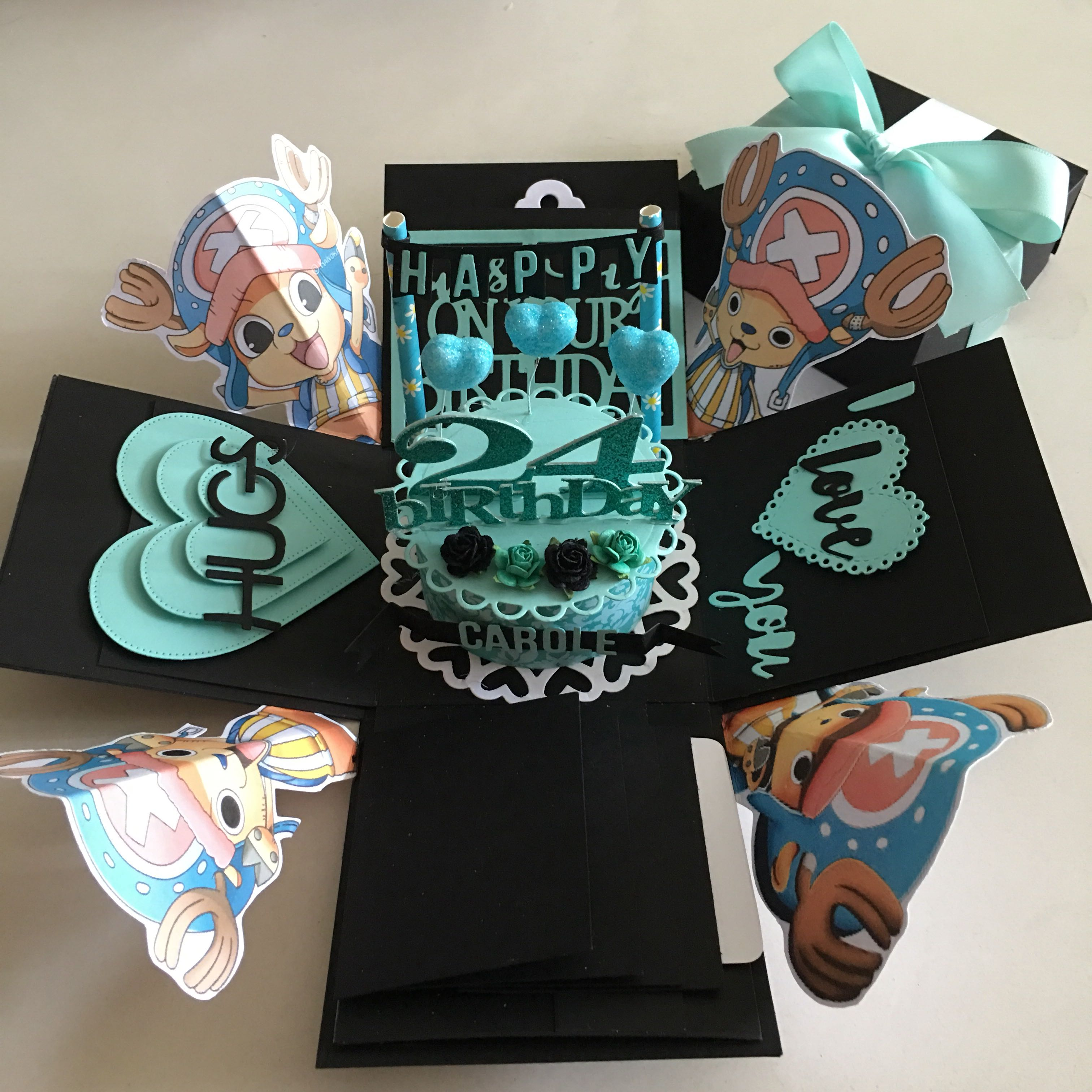 One Piece Chopper Explosion Box With Cake 4 Waterfall In Black