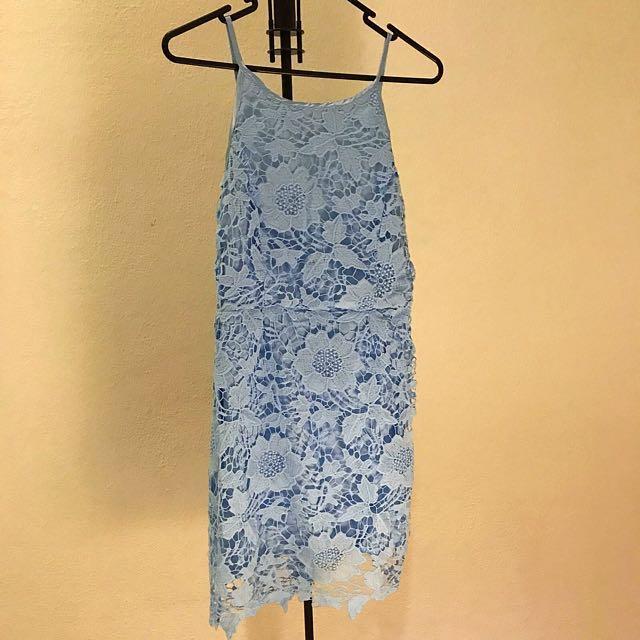 605d11874 Sky  Baby Blue Crochet Lace Dress