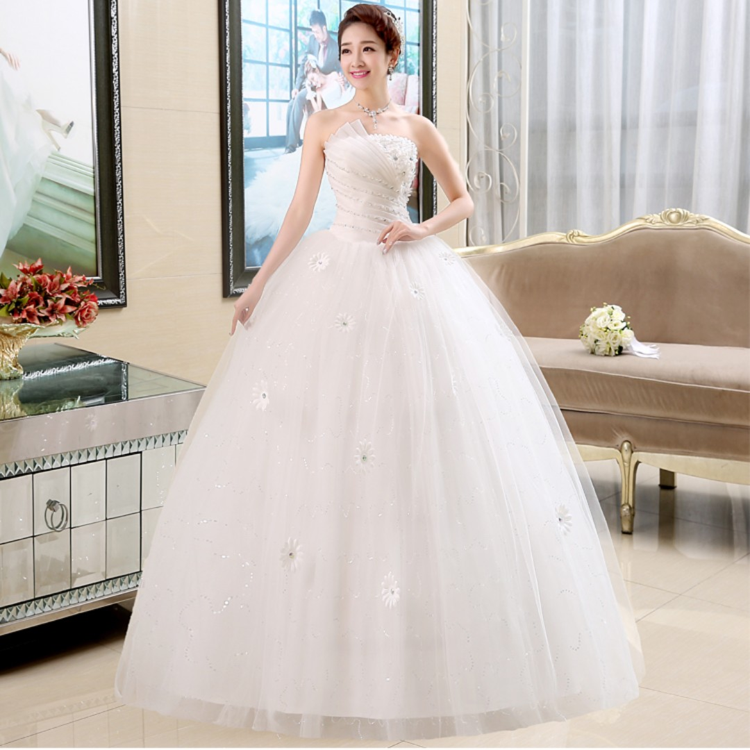 Wedding Collection Classic Tube Style Puffy Wedding Gown