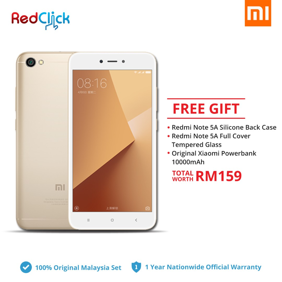 Xiaomi Redmi Note 5a 2gb 16gb Gold Original Malaysia Set Mobile Ram 2 Rom 16 Phones Tablets Android On Carousell