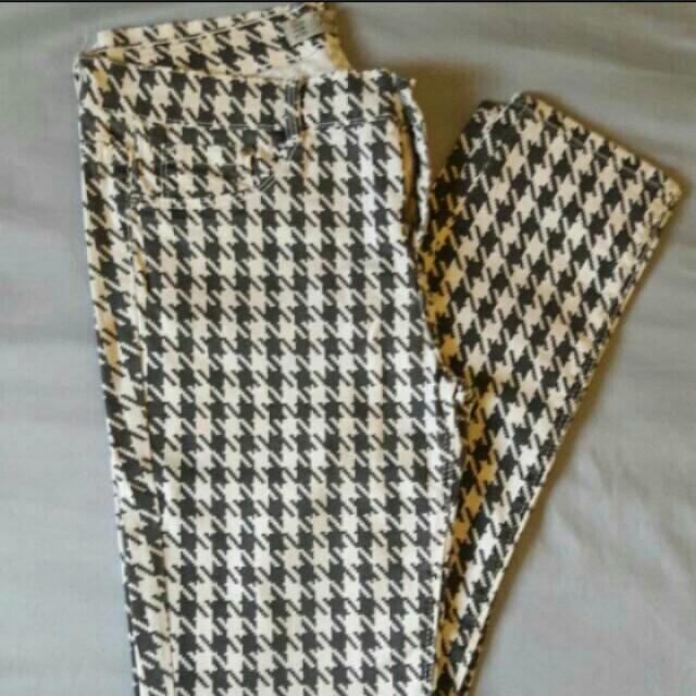 Zara Houndstooth Skinny Jeans