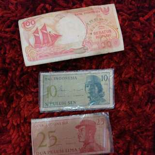 Uang 100 rupiah ,10 sen,25 sen