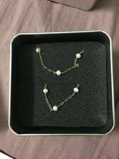 (new)14k注金珍珠滿天星頸鏈 手鏈 一套 14kgb