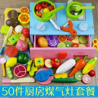 ⚡SPECIAL OFFER⚡BN 50pcs Wooden Table Top Gas Stove and Assorted Cutting Foods Kitchen Toy Set
