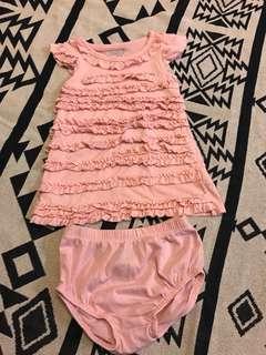Oshkosh長版荷葉邊上衣/洋裝(12M)粉色