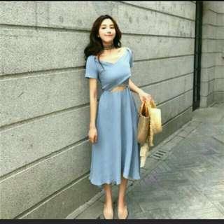 小心機水藍色露背露肩性感露腰連身裙