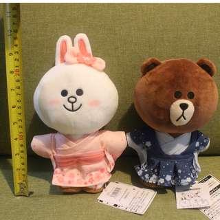 LINE Friends Sakura Edition Kimono Brown and Cony 21cm Plush Doll Gift Japan Limited